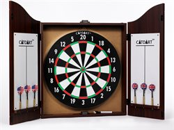 Dart in  nice wooden cabinet incl. 6 darts.