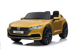 VW Arteon 12V, paintet yellow, rubber tires and Leather seat