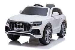 Audi Q8 white, 12V, leatherseat, rubber tires