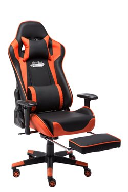 Stanlord Gamer chairs Colville Orange with footrest