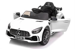 Mercedes GTR AMG White, 12Volt, rubber tires and Leather seat
