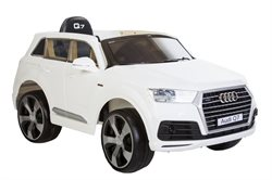 Audi Q7 Hvid, 12V, leatherseat, rubber tires