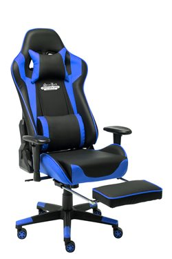 Stanlord Gamer chairs Colville Blue with footrest